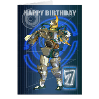 7th Happy Birthday with Robot warrior Greeting Card