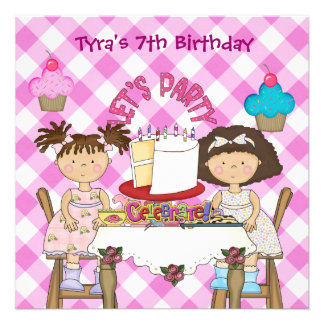 7th Kids Party Birthday Girls Cupcakes Children Personalized Invite