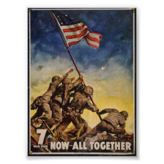 7th War Loan, Now... All Together - Vintage War Mi Poster