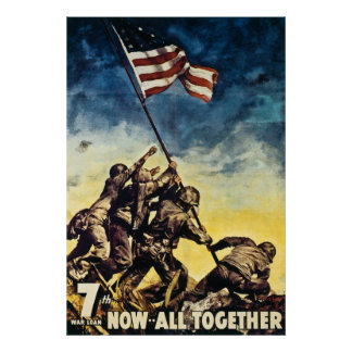 7th War Loan Now All Together Vintage WW2 Poster