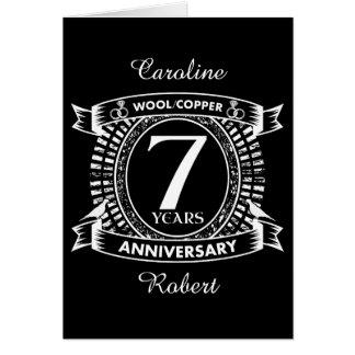 7TH wedding anniversary wool copper Card