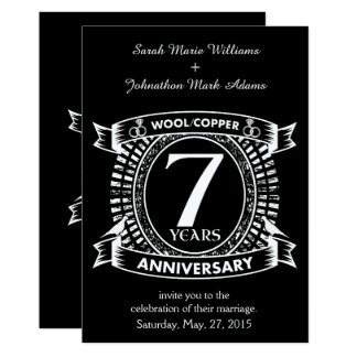 7TH wedding anniversary wool copper Card