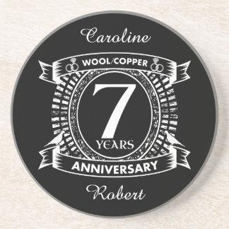 7TH wedding anniversary wool copper Coaster