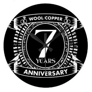 7TH wedding anniversary wool copper Large Clock