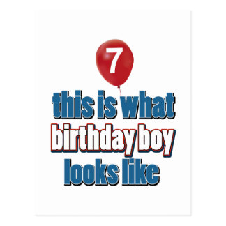 7th year birthday designs postcard