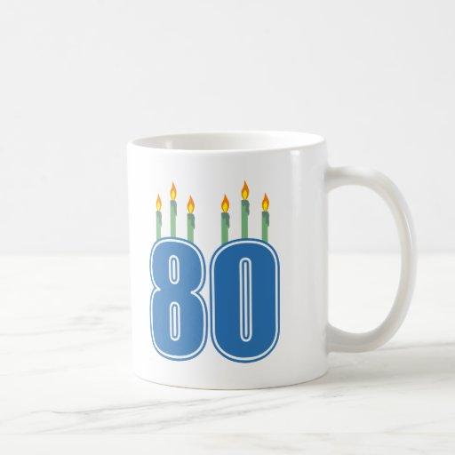 80 Birthday Candles (Blue / Green) Mugs