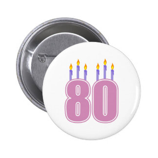 80 Birthday Candles (Pink / Purple) 6 Cm Round Badge