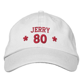80 Birthday Custom Name Red Embroidery V17A Embroidered Hat