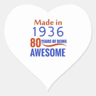 80 birthday design heart sticker