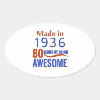 80 birthday design oval sticker