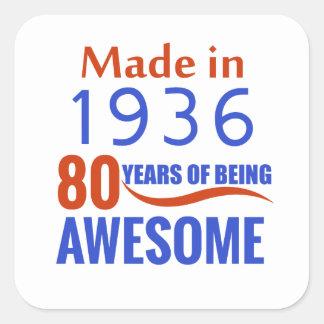 80 birthday design square sticker