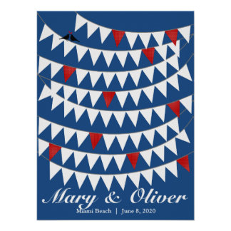 80 Bunting Red Blue Wedding Guest Book Alternative Poster