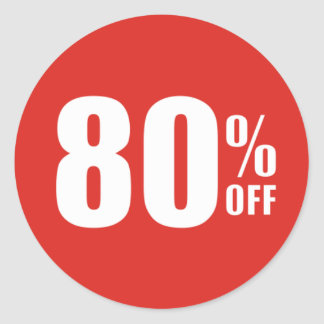 80% Eighty Percent OFF Discount Sale Sticker