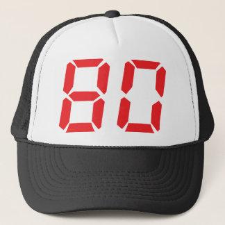80 eighty red alarm clock digital number trucker hat