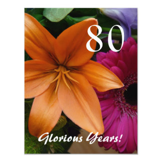 """80 Glorious Years!-Birthday Party/Orange Lily 4.25"""" X 5.5"""" Invitation Card"""