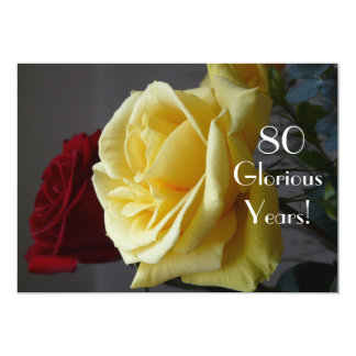 80 GloriousYears!-Birthday/Two Roses-with Quote Personalized Announcement