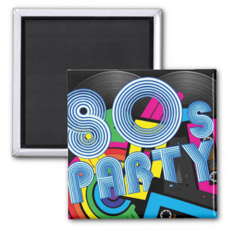 80 Retro Party Square Magnet