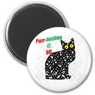 80 Snow Cat Purr-fection 6 Cm Round Magnet
