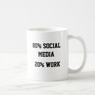 80% SOCIAL MEDIA 20% WORK BASIC WHITE MUG