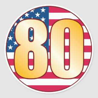 80 USA Gold Classic Round Sticker