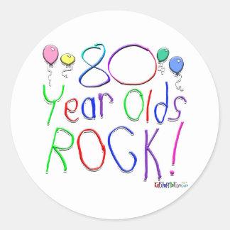 80 Year Olds Rock Round Sticker