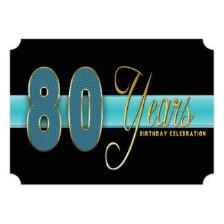 "80 YEARS BIRTHDAY PARTY INVITATION AQUA/BLACK 5"" X 7"" INVITATION CARD"
