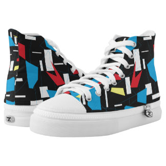 80s 90s geometric multicolore pattern retro design printed shoes