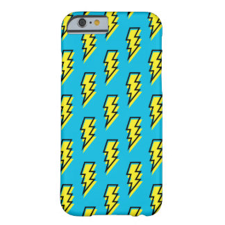80's/90's Neon Blue Yellow Lightning Bolt Pattern Barely There iPhone 6 Case