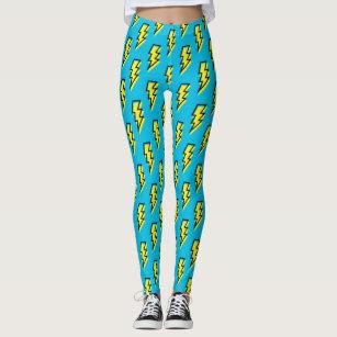 4eb4f98f72 80's/90's Neon Blue Yellow Lightning Bolt Pattern Leggings