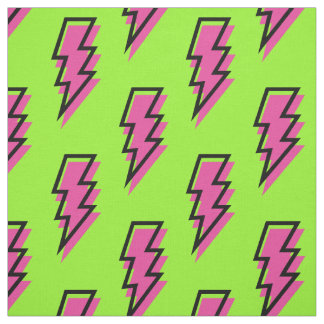 80's/90's Neon Green & Pink Lightning Bolt Pattern Fabric