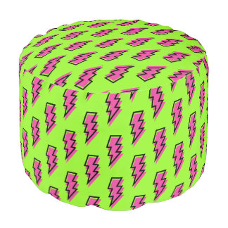 80's/90's Neon Green & Pink Lightning Bolt Pattern Pouf