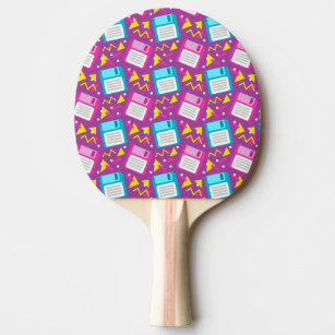 80s 90s Retro Floppy Disc Pink Blue Pattern Ping Pong Paddle