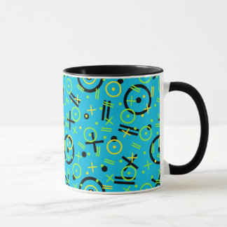 80's/90's Retro Neon Blue Pattern Mug