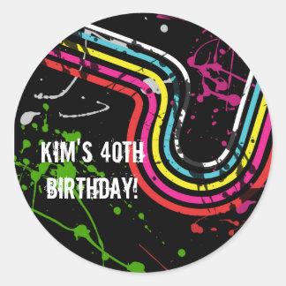 80's Birthday Party Retro Treat Favor Classic Round Sticker
