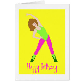 80s birthday with pink tights and green leotard card