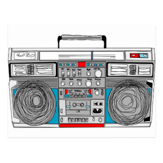 80s boombox illustration postcard