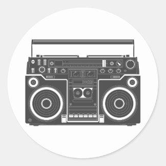 80s Boombox Round Sticker