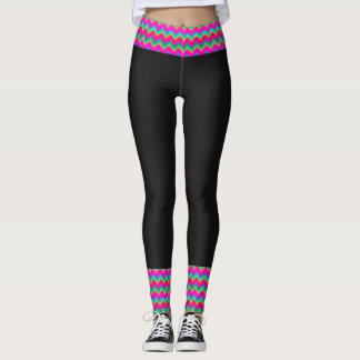 80's Bordered Neon Black Leggings