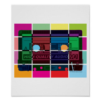 80's Cassette Color Blocks Poster