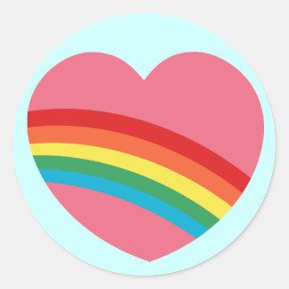 80s Chunky Rainbow Heart Stickers