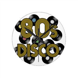 80s disco vinyl records round clock