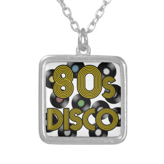 80s disco vinyl records silver plated necklace