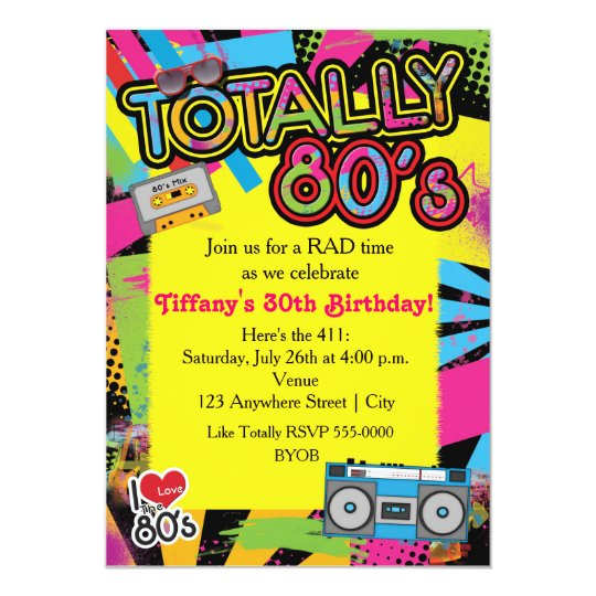 80's Eighties Birthday Party Retro Invitation | Zazzle.com.au