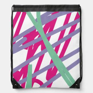 80s eighties vintage colors splash medley art girl drawstring backpacks