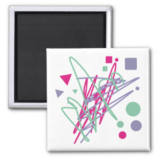 80s eighties vintage colors splash medley art girl square magnet