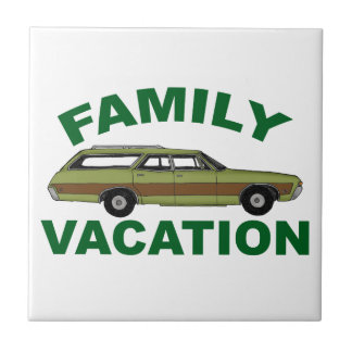 80s Family Vacation Ceramic Tile