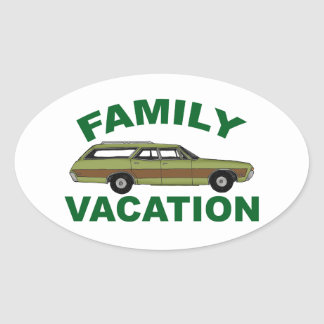 80s Family Vacation Oval Sticker