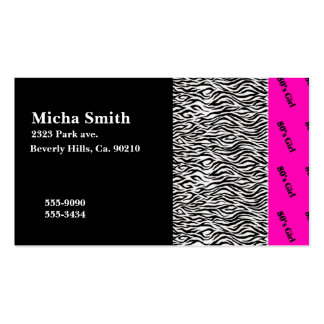 80's Girl Neon Pink & Zebra Monogram Double-Sided Standard Business Cards (Pack Of 100)