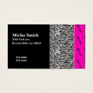 80's Girl Neon Pink & Zebra Monogram Business Card