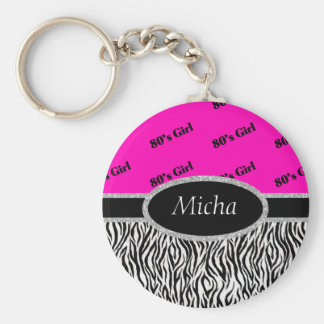 80's Girl Neon Pink & Zebra Monogram Key Ring
